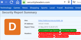 Result Security Headers check